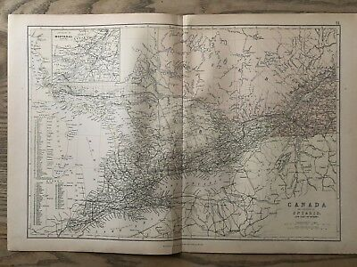 1884 Ontario Quebec Canada Large Coloured Antique Map By W.g. Blackie