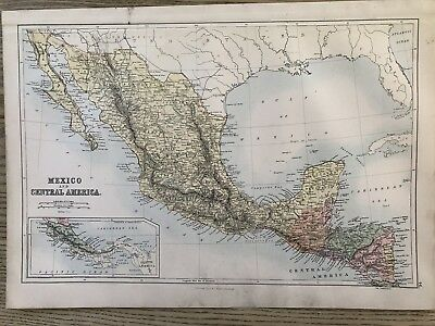 1884 Mexico & Central America Map By John Bartholomew & A & C Black