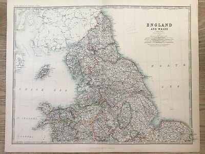 1888 North England & Wales Large Original Antique Map By Johnston 130 Years Old