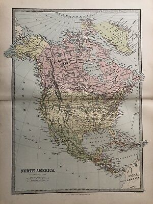 1885 North America Original Antique Map By Bartholomew & George Philip