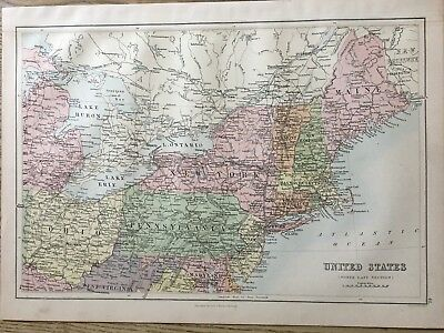 1888 North East United States Antique  Map By John Bartholomew & A & C Black