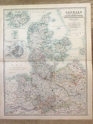 1888 Denmark & Iceland Large Original Antique Map By Johnston 130 Years Old