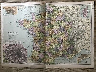 1908 France Original Antique Map By G.w. Bacon 110 Years Old