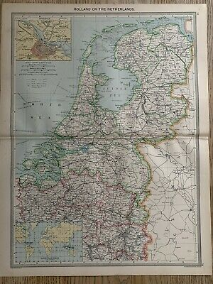 1906 Holland Large Original Antique Map By George Philip 113 Years Old