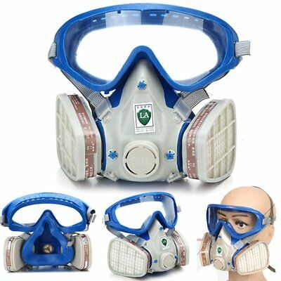 Full Face Respirator Gas Mask Silicone & Goggles Paint Chemical Dustproof Fi ZY