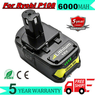 18V 6.0Ah Li-Ion Replacement Battery For Ryobi P108 ONE+ Plus P106 P107 P105 EG