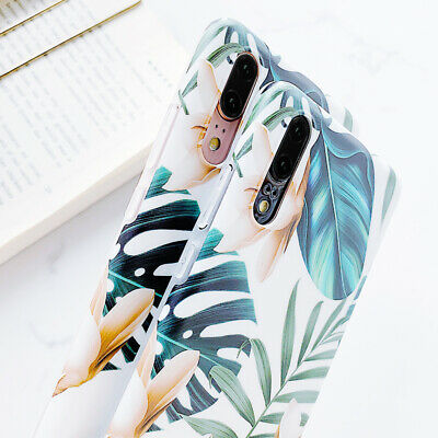 Soft IMD Silicone Retro Tropical Leave Case For Huawei Mate 20 Lite P30 P20 Pro