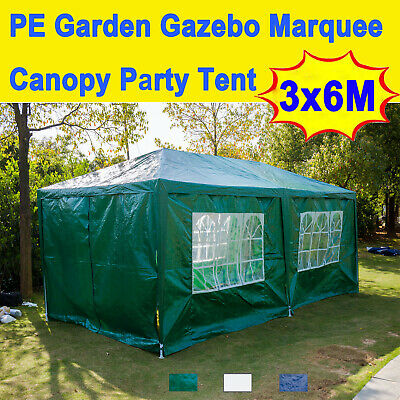 3x6m Gazebo Marquee Canopy Party Tent Patio Awning With Side Window Side Panels