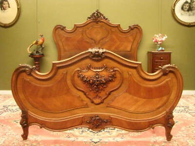 Antique French Louis Xv Style Walnut Double Bed Frame. Slat Base For  $220 Extra