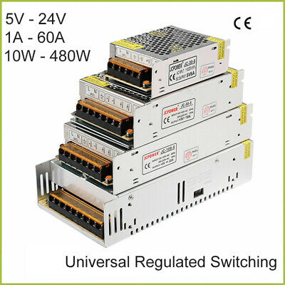 DC 5V-24V Universal Regulated Switching Power Supply LED 3D PSU 1A-60A 10W-480W