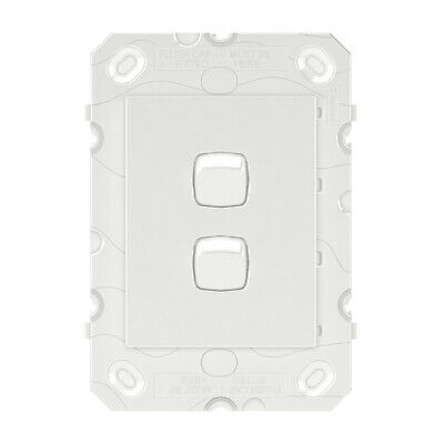 HPM ARTEOR 2-GANG WALL SWITCH 230-240V AC 16AX Grid Only, Vertical WHITE