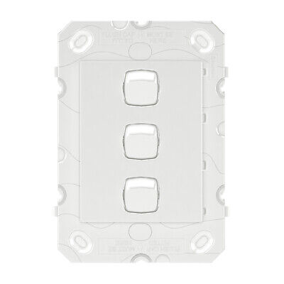 HPM ARTEOR 3-GANG WALL SWITCH 230-240V AC 16AX Grid Only, Vertical WHITE