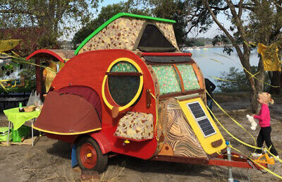 "Teardrop caravan ""Terra Incognita"" Vintage style camper trailer folding kitchen"