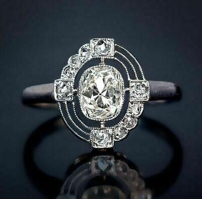 1.20 Ct Antique Cushion Vintage Art Deco Engagement Ring In 925 Sterling Silver
