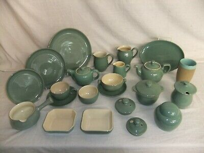 C4 Pottery Denby Bourne - Manor Green - plates cups jugs tea coffee pots 6D2A