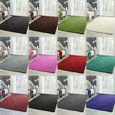 Modern Coloured Super Soft Plain Wool Shaggy Rug 5cm Thick Non Shed Area Rugs