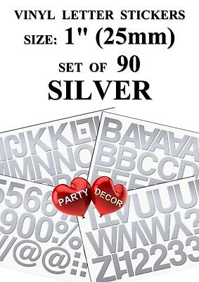 """Set of 90   Silver  1""""   Letters and Numbers  - Self Adhesive Vinyl Stickers"""