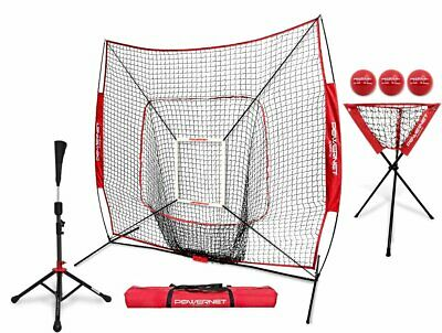 a273e26d1 Powernet 7X7 Dlx Practice Net + Deluxe Tee + Ball Caddy + 3 Pack Weighted  Ball