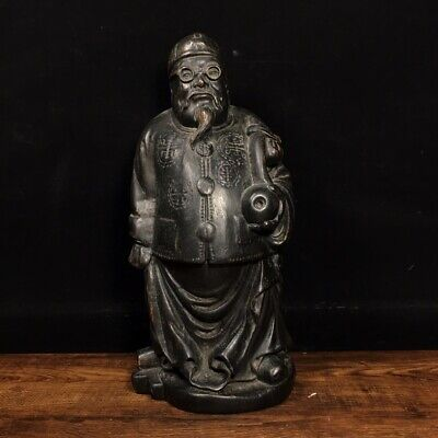 """11"""" Chinese old antique bamboo carving wooden handcarved Landlord statue"""