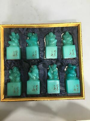 """4"""" Chinese antique shoushan stone handcarved Eight Immortals seal statue A Set"""