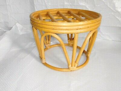 vintage mid century modern bentwood stool hassock table plant stand bamboo mod