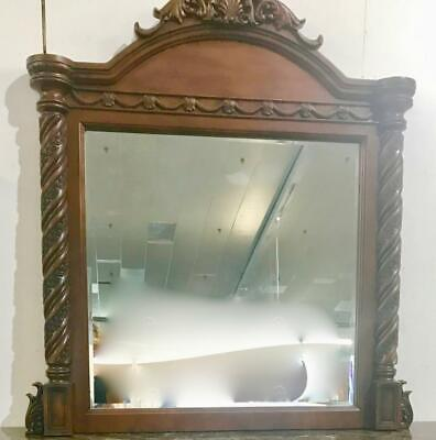 LARGE ITALIAN MADE ORNATELY CARVED WALL OR MANTLE BEVELLED MIRROR  125 X 130cm