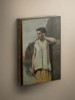 Camille Corot The Muse 1865 Canvas Art Print #004325