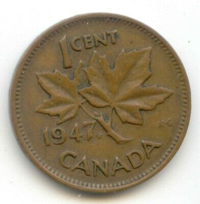 Canada 1947 PENNY Canadian one cent MAPLE LEAF King George VI ~ Exact Coin ~
