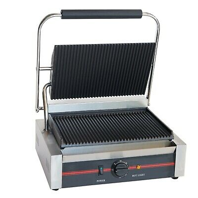 Sher Commercial Electric Single Contact Grill Grooved Panini Press Toaster