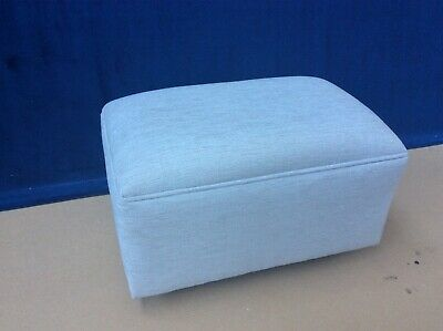 Upholstered footstool / pouffe / seat in Laura Ashley Katrina silver fabric