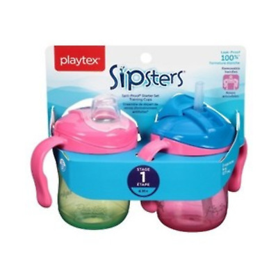 Playtex Training Time Starter Set Cup - 6 Ounce - 2 Pack - Green/Pink Stage 1