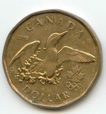 Canada 2008 Loonie Splashing Loon Olympic Commemorative Canadian One Dollar 1 $1