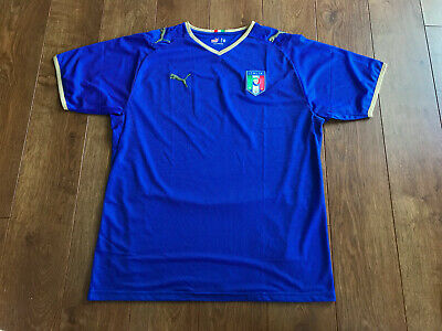 719864bc6 Italy Italia Puma National Team Soccer Jersey Blue Large 2008 - 2009  Parrilla 14