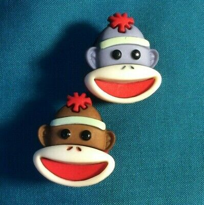 Cute SOCK MONKEY Faces Grey / Brown Face Animal Holey Clog Shoe Charms Charm
