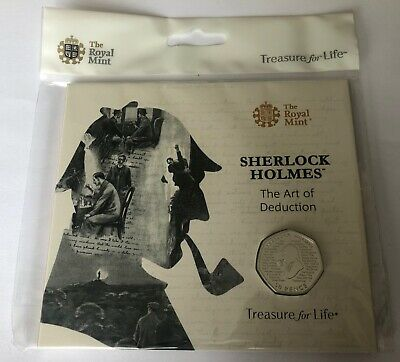 Sherlock Holmes 50p Royal Mint Packaged Brilliant Uncirculated BU Coin