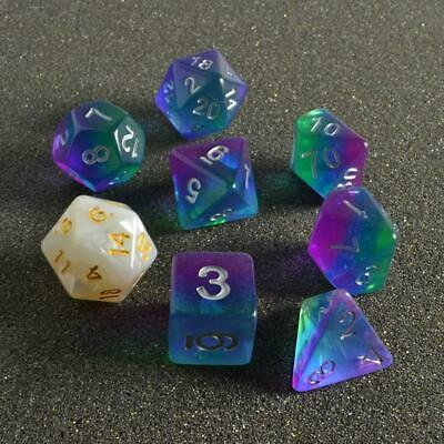 Sirius Dice Polyhedral 7 Die Set Blue Aurora New RPG Role Playing Games