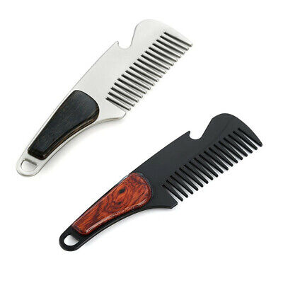 Practical Beard Comb Mens Shaving Pocket Comb Portable Male Alloy Mustache Brush