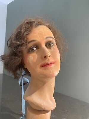 Seltene  Franzoesische French Wax Mannequin Kopf Head Glass Eyes Real Hair 1930