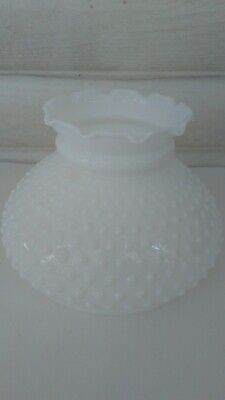 "White Milk Glass HOBNAIL Pattern Hurricane Lamp Shade Globe 6 7/8"" Fitter FLAW"