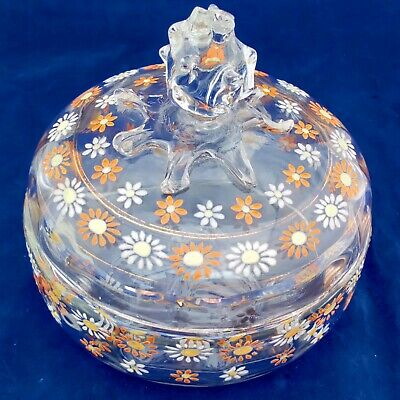Antique Bohemian Glass Sweetmeat Jar with Hand Painted Daisy Flowers c 1890
