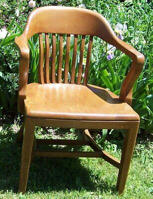 Vintage Solid Hardwood Bankers Chair - B. L. Marble Company