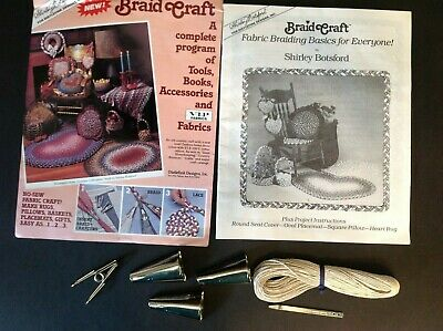 Vtg Braid Craft Aid Rug Braiders Wool Cotton Bodkin Clamp County Primitive VIP