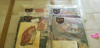 """4 Red Heart Rug Pattern Vintage Canvas 20"""" X 27""""  27 x 30 18 x 24  sealed"""