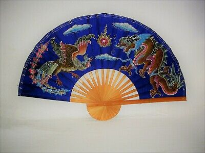 Large Vintage Oriental Hand Painted on Silk Dragon Design Bamboo Wall Art Fan