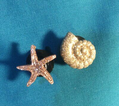 Cute GLITTERY Beach Set of 2 Seashell Nautical Beach Holey Clog Shoe Charm