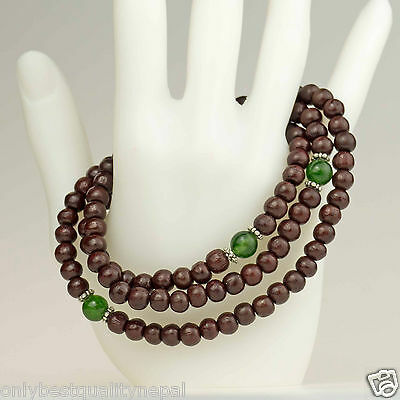Green Jade Rosewood Necklet Necklace Mala Chain Wood Jewelry Bracelet Buddha 23