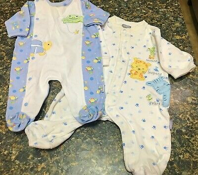 Baby Boy Clothes - 2 Sleepers - 3 Months - Baby Blue Animals Themes - Lot 15