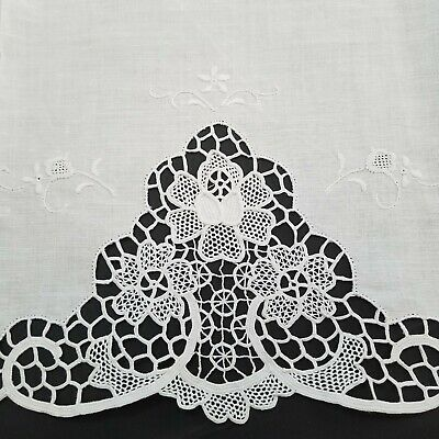 """4 Vintage Italian Pure Linen Hand Embroidered Cutwork White Towels 43"""" x 28"""""""