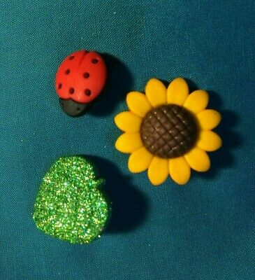 Cute SUMMER Time Trio SUNFLOWER Ladybug Glittery Leaf Holey Clog Shoe Charm