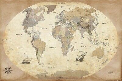 Maps - World Map 2015 English Vintage Retro Style Poster Print (36x24in) #87354